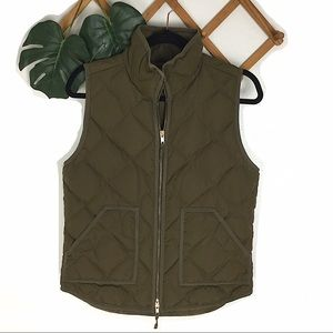 J. Crew | Green Quilted Down Puffer Vest Small